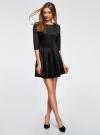 Платье трикотажное со складками на юбке oodji #SECTION_NAME# (черный), 14001148-1/33735/2900N - вид 2