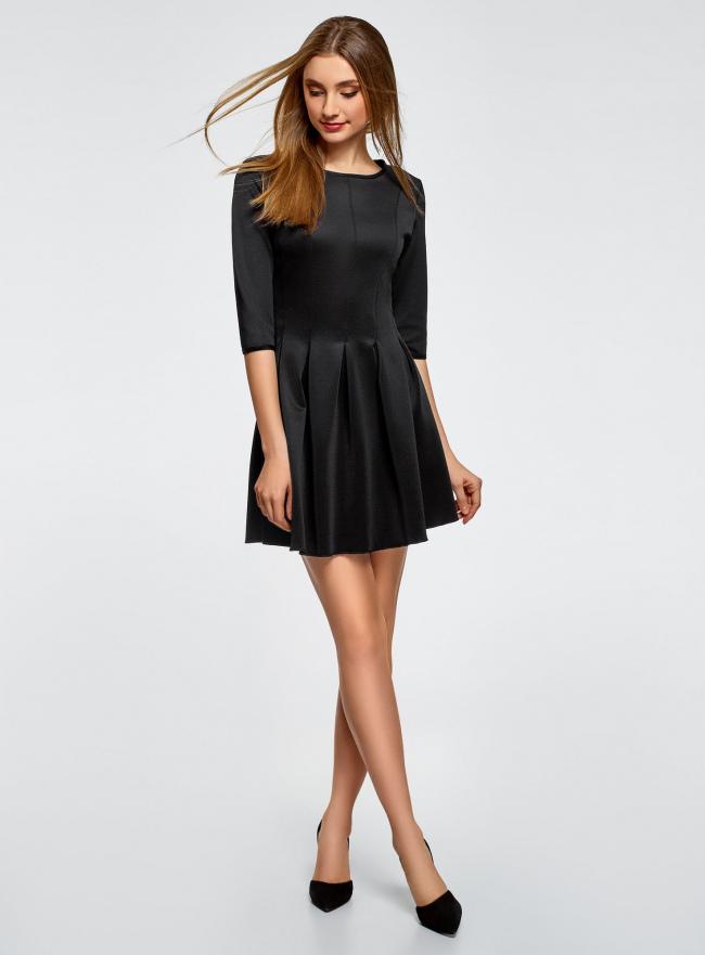Платье трикотажное со складками на юбке oodji #SECTION_NAME# (черный), 14001148-1/33735/2900N