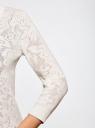Кардиган вязаный с декором из кружева oodji для женщины (слоновая кость), 63210143/42948/1200L
