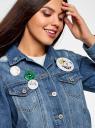 Куртка джинсовая со значками oodji #SECTION_NAME# (синий), 11109031/46654/7500W - вид 4