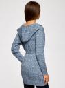 Кардиган меланжевый с капюшоном oodji #SECTION_NAME# (синий), 63207195/48106/7412M - вид 3