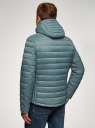 Куртка стеганая с капюшоном oodji для мужчины (синий), 1B112009M/25278N/7501N