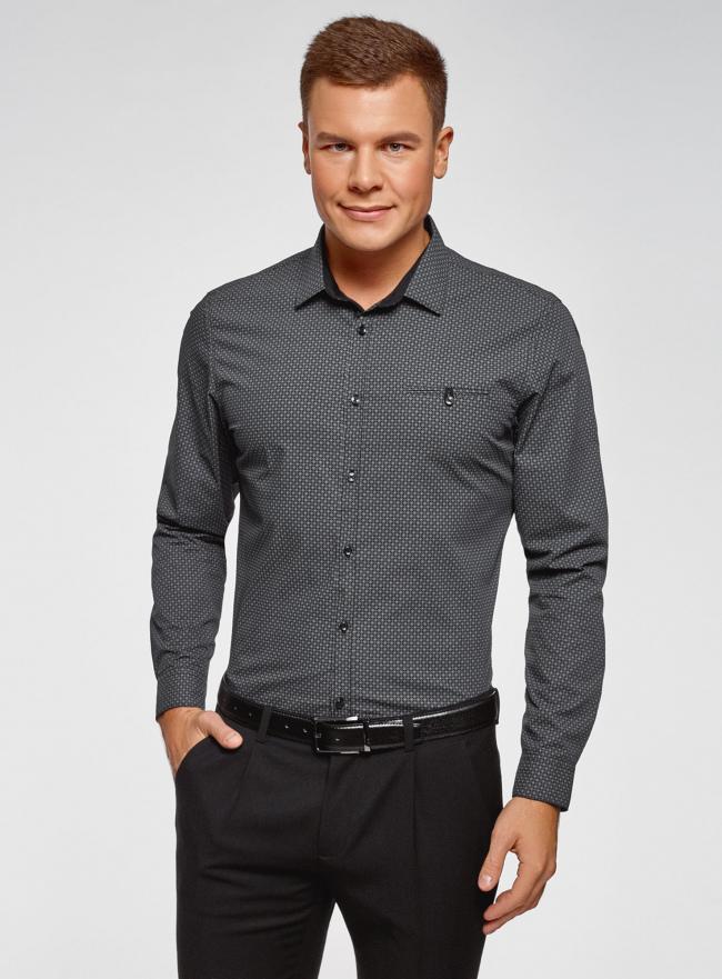 Рубашка хлопковая с нагрудным карманом oodji #SECTION_NAME# (серый), 3L110329M-1/44425N/2925G