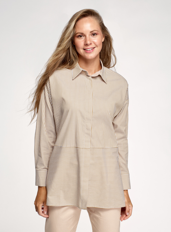 Рубашка в полоску прямого силуэта oodji для женщины (бежевый), 13K11026/50152/3310S