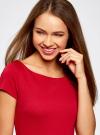 Платье трикотажное с вырезом-лодочкой oodji #SECTION_NAME# (красный), 14001117-2B/16564/4500N - вид 4