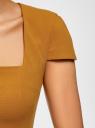 Платье-футляр из плотной ткани с квадратным вырезом oodji #SECTION_NAME# (желтый), 21902065/31291/5700N - вид 5