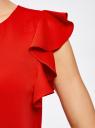 Платье с рукавами-крылышками и украшением на горловине oodji для женщины (красный), 21909002/42720/4500N
