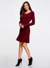 Платье вязаное с расклешенным низом oodji для женщины (красный), 63912223/46096/4900N - вид 6