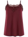 Топ в бельевом стиле с кружевной отделкой oodji для женщины (красный), 14911004-2B/17358/4903N