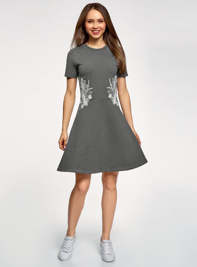 Платье приталенного силуэта на молнии oodji для женщины (серый), 14001226-1/48881/2510Z