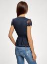 Жакет из легкой ткани с кружевной отделкой oodji #SECTION_NAME# (синий), 11200213-2/38096/7900N - вид 3