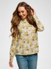 Блузка вискозная А-образного силуэта oodji #SECTION_NAME# (желтый), 21411113B/26346/5052F - вид 2