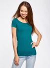 Комплект приталенных футболок (2 штуки) oodji #SECTION_NAME# (зеленый), 14701005T2/46147/6C00N - вид 2