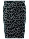 Юбка бархатная с аппликацией из искусственной кожи oodji для женщины (зеленый), 24101045-2/46067/6E00N