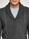 Кардиган фактурной вязки с пуговицами oodji для мужчины (серый), 4L605052M/25365N/2300N