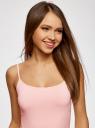 Топ трикотажный на тонких бретелях oodji для женщины (розовый), 14305023-4B/45297/4001N