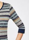 Платье трикотажное с этническим принтом oodji #SECTION_NAME# (разноцветный), 14001064-3/35468/3079J - вид 5