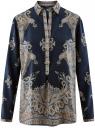Блузка с этническим узором и отложным воротником oodji #SECTION_NAME# (синий), 21411144-3M/35542/7935E