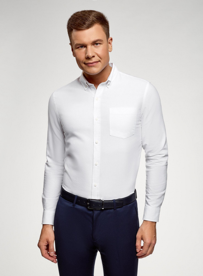 Рубашка из фактурной ткани oodji для мужчины (белый), 3B310007M/49257N/1000O