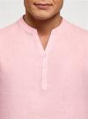 Рубашка льняная без воротника oodji #SECTION_NAME# (розовый), 3B320002M/21155N/4001N - вид 4