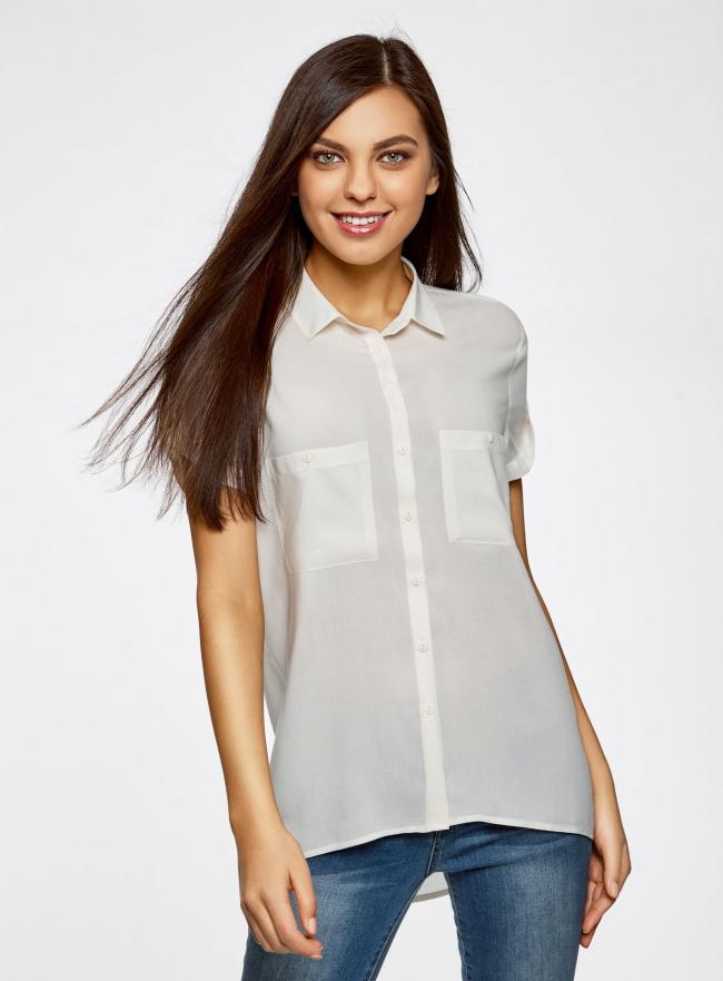 Блузка из вискозы с нагрудными карманами oodji #SECTION_NAME# (слоновая кость), 11400391-3B/24681/1200N