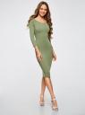 Платье облегающее с вырезом-лодочкой oodji #SECTION_NAME# (зеленый), 14017001-6B/47420/6200N - вид 6