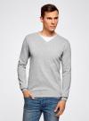 Пуловер базовый комбинированный oodji #SECTION_NAME# (серый), 4B212003M-1/21702N/2300M - вид 2