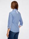 Рубашка с контрастной отделкой и рукавом 3/4 oodji #SECTION_NAME# (синий), 11403201-2B/26357/7500N - вид 3