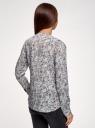 Блузка вискозная прямого силуэта oodji #SECTION_NAME# (синий), 21400394-1B/24681/7041F - вид 3