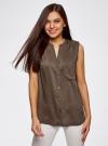 Блузка без рукавов с металлическими кнопками oodji #SECTION_NAME# (коричневый), 21412131/35251/3700N - вид 2