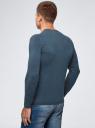 Пуловер базовый с V-образным вырезом oodji #SECTION_NAME# (синий), 4B212007M-1/34390N/7901M - вид 3