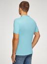 Поло из ткани пике с воротником-стойкой oodji для мужчины (бирюзовый), 5B412008M/39570N/7300N