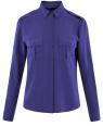 Блузка базовая из вискозы с нагрудными карманами oodji #SECTION_NAME# (синий), 11411127B/26346/7500N