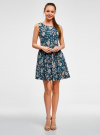 Платье принтованное с бантом на спине oodji #SECTION_NAME# (синий), 11900181-2/35271/7912F - вид 2