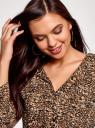Платье вискозное с ремнем oodji #SECTION_NAME# (коричневый), 11900180B/48458/3729A - вид 4