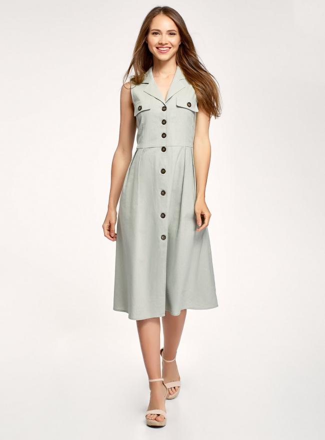 Платье на пуговицах А-силуэта oodji для женщины (зеленый), 22C13001/49943/6000N