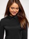 Блузка хлопковая с баской oodji #SECTION_NAME# (черный), 13K00001-1B/42083/2900N - вид 4