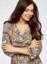 Платье вискозное с плетеным поясом oodji для женщины (разноцветный), 11900180-1/42540/6537E