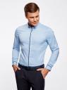 Рубашка базовая с контрастной отделкой oodji #SECTION_NAME# (синий), 3B140005M/34146N/7079B - вид 2