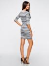 Платье жаккардовое с геометрическим узором oodji для женщины (синий), 14001064-5/46025/7079G - вид 3