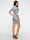 Платье жаккардовое с геометрическим узором oodji #SECTION_NAME# (синий), 14001064-5/46025/7079G - вид 3
