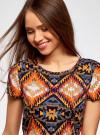 Платье принтованное из вискозы oodji для женщины (разноцветный), 11900191/26346/2959E - вид 4