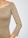 Платье облегающее с вырезом-лодочкой oodji #SECTION_NAME# (бежевый), 14017001-1/37809/3329S - вид 5
