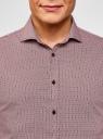 Рубашка хлопковая в мелкую графику oodji #SECTION_NAME# (красный), 3L110288M/19370N/1049G - вид 4