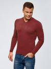 Пуловер базовый с V-образным вырезом oodji #SECTION_NAME# (красный), 4B212007M-1/34390N/4C00M - вид 2