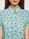 Блузка из вискозы с нагрудными карманами oodji #SECTION_NAME# (бирюзовый), 11400391-4B/24681/6579O - вид 4