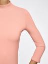 Водолазка хлопковая с рукавом 3/4 oodji #SECTION_NAME# (розовый), 15E11007B/46147/4300N - вид 5