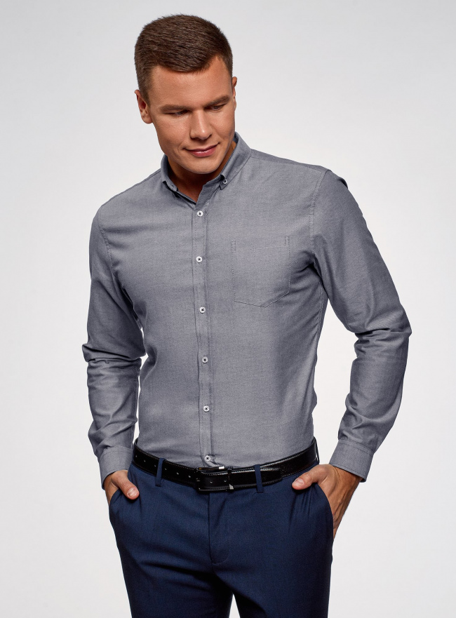 Рубашка хлопковая приталенная oodji #SECTION_NAME# (серый), 3B110007M/34714N/7500O