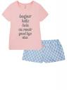 Пижама хлопковая с принтом oodji для женщины (розовый), 56002217-7/46154/7012P