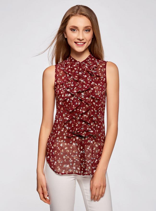Топ из струящейся ткани с воланами oodji для женщины (красный), 21411106/17358/4933F